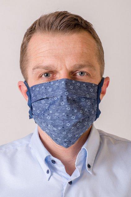 Bavlněná rouška na ústa a nos dvouvrstvá skládaná s kapsou, se šňůrami z keprové stuhy, 797-5081, Modrá