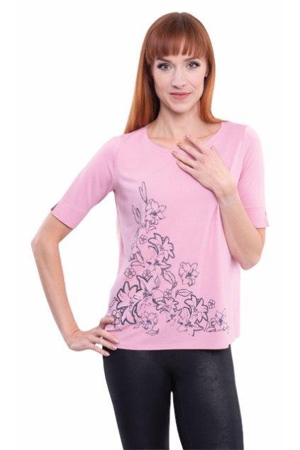 Dámská halenka s krátkým rukávem, 1N305 122, růžová