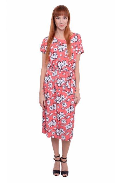 Dámské šaty s krátkým rukávem, 1N504 435, korálová