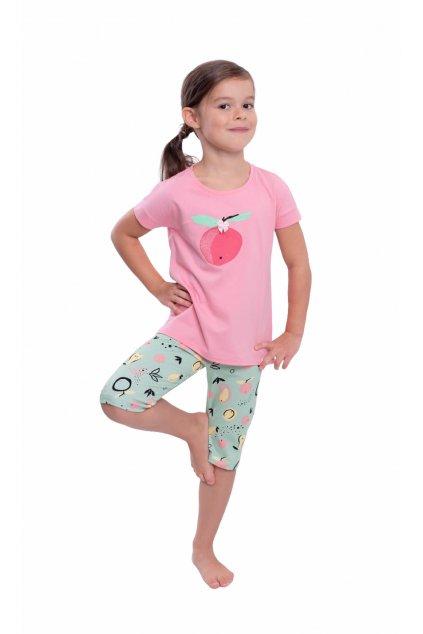 Dívčí pyžamo s krátkým rukávem a 3/4 nohavicemi, 404166 51, růžová