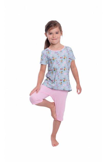 Dívčí pyžamo s krátkým rukávem a 3/4 nohavicemi, 404168 88, tmavě modrá
