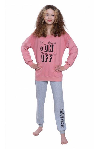 Pyžamo YOUNG FASHION s dlouhým rukávem, 70476 62, růžová