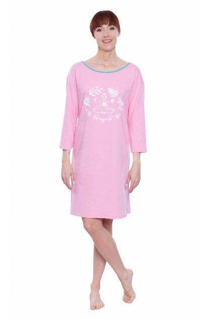 Dámská noční košile s 3/4 rukávem, 104592 199, růžová