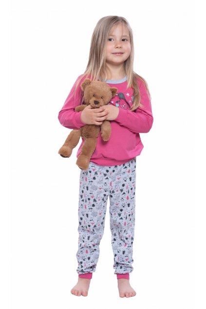 Dívčí pyžamo s dlouhým rukávem, 404169 252, růžová
