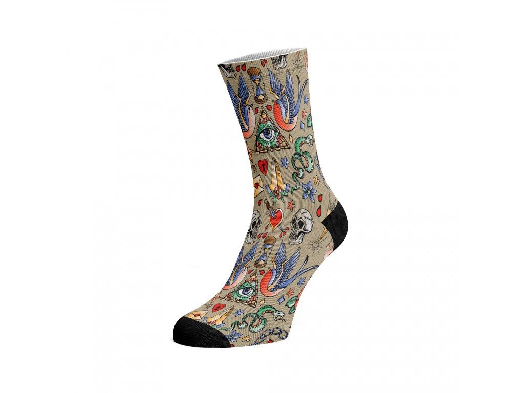 Walkee barevné ponožky - Tattoo Béžová