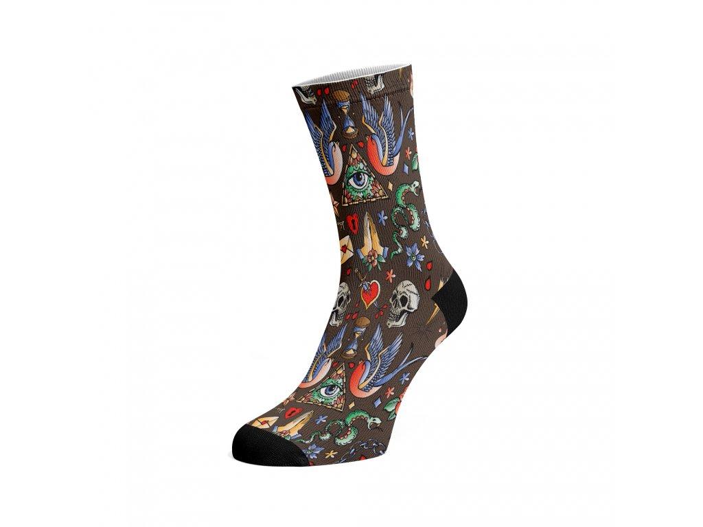 Walkee barevné ponožky - Tattoo hnědá