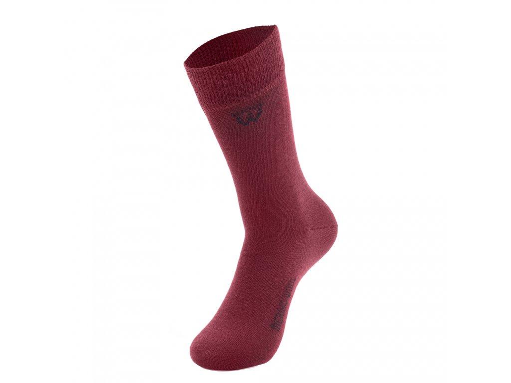 Walkee ponožky z merino vlny - tmavě červená