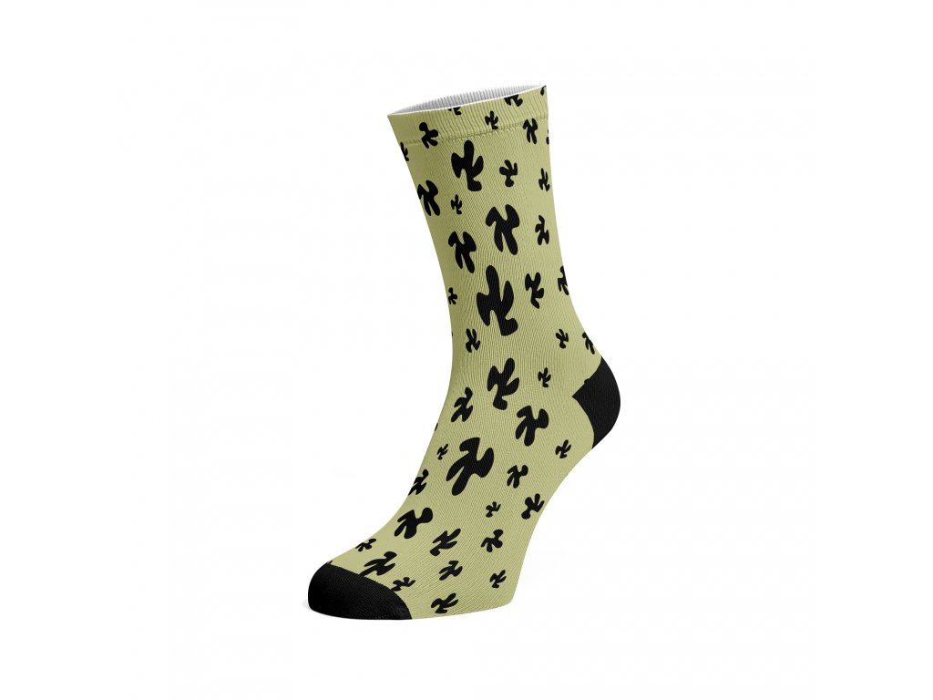 Walkee barevné ponožky - Black Organics on yellow.