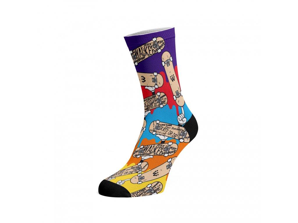 Walkee barevné ponožky -  King of skate