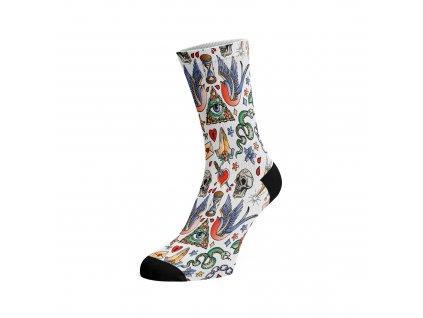 Walkee barevné ponožky - Tattoo Bíla