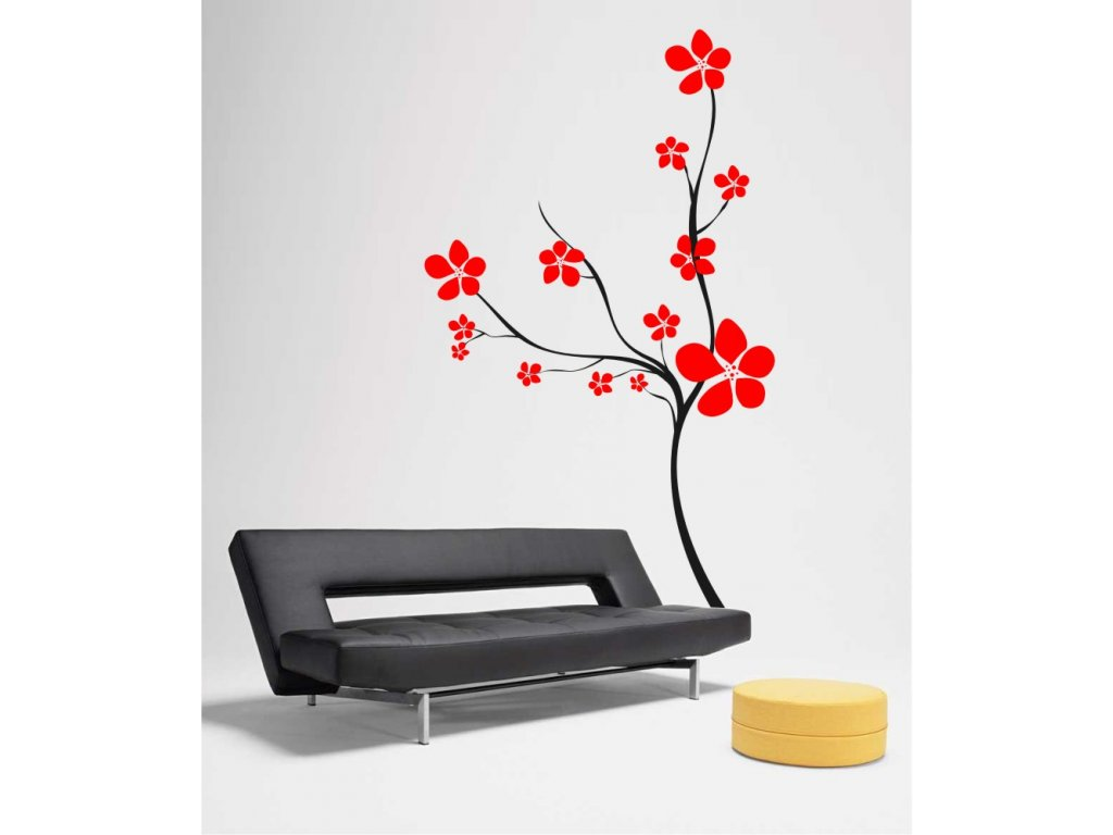 Samolepky na zeď - Keř s květy