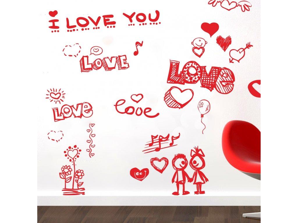 Samolepky na zeď - Love small set