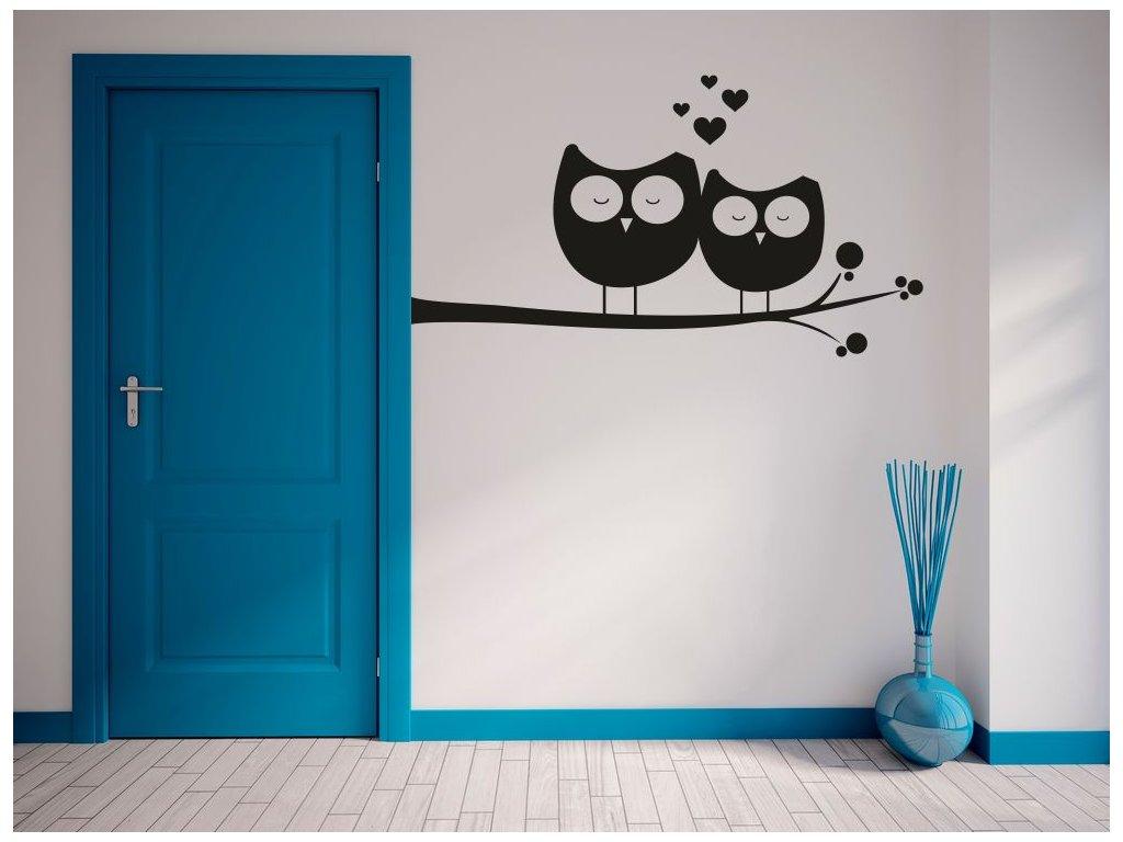 Samolepky na zeď - Zamilované sovy