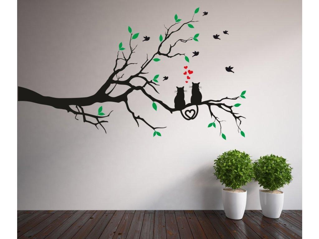 Samolepky na zeď - Větev a zamilované kočky