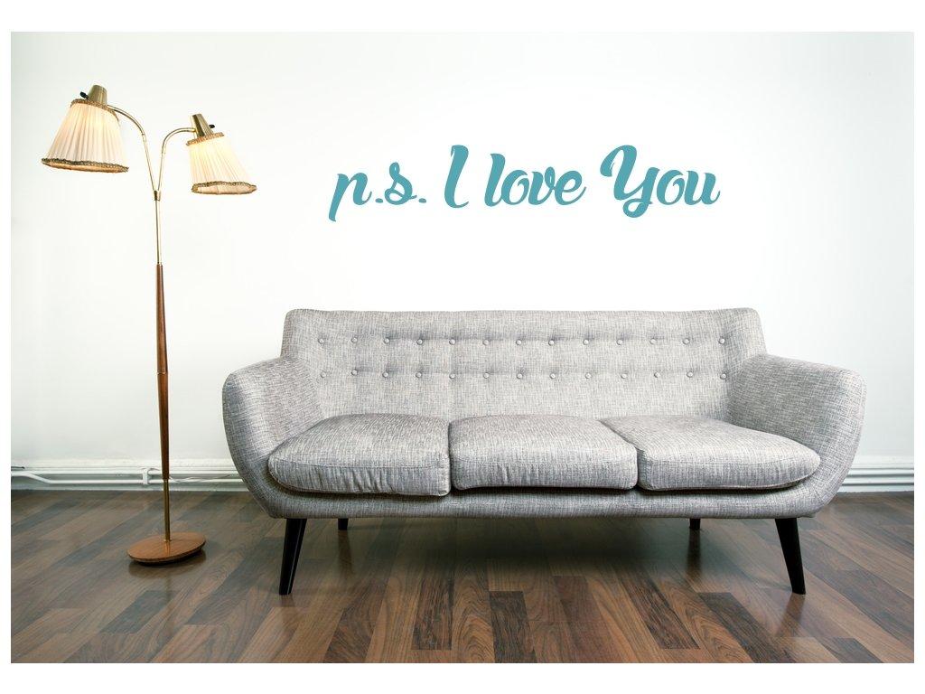 Samolepky na zeď nápis p.s. I love you 02
