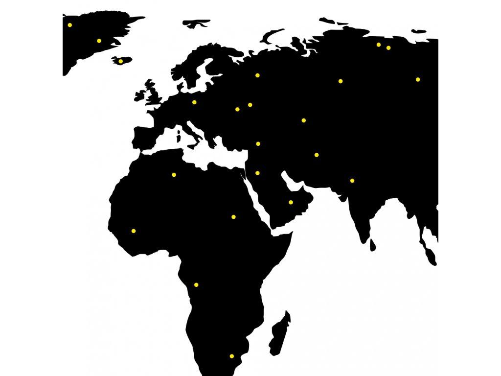 Samolepky na zeď - Puntíky na Mapu světa
