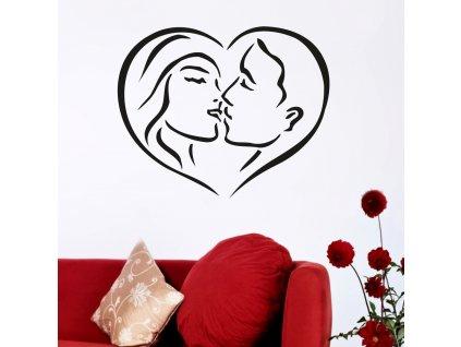 Samolepky na zeď - Zamilovaný pár v srdci
