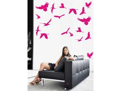 Samolepky na zeď - Ptáčci na nebi