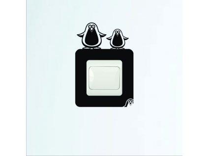 Samolepky na zeď - Vypínač penguin