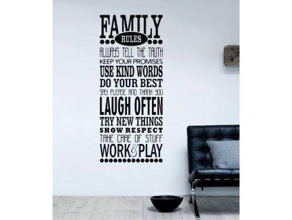 Samolepky na zeď - Family rules