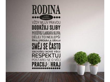Samolepky na zeď - český citát Rodinná pravidla