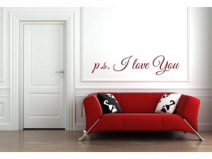 Samolepky na zeď nápis p.s. I love you 01