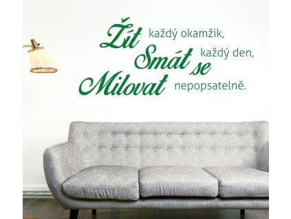 Samolepky na zeď - Český citát Žít, smát se a milovat