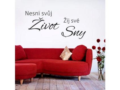 Samolepky na zeď - český citát Žij své Sny
