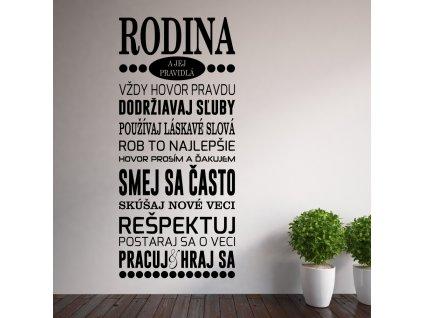 Samolepka na zeď slovenský citát s nápisem rodina