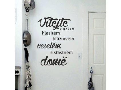Samolepky na zeď - Český nápis Vítejte v našem domě