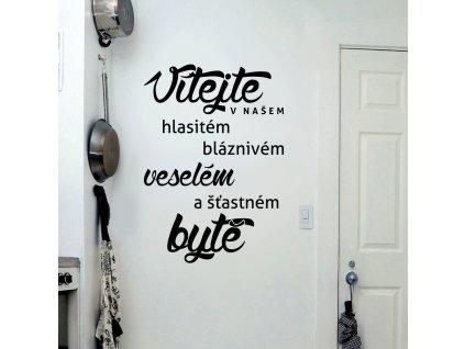 Samolepky na zeď - Český nápis Vítejte v našem bytě
