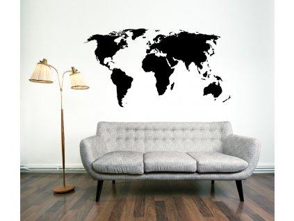 Výprodej - Mapa světa, 190x100cm, ČERNÁ