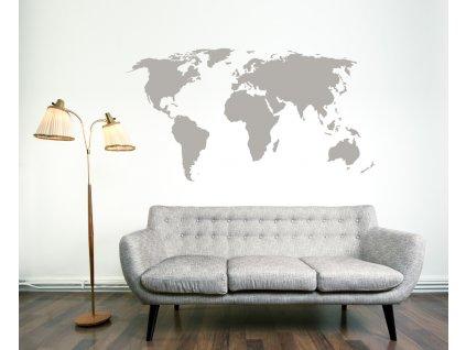 Mapa světa šedá střední
