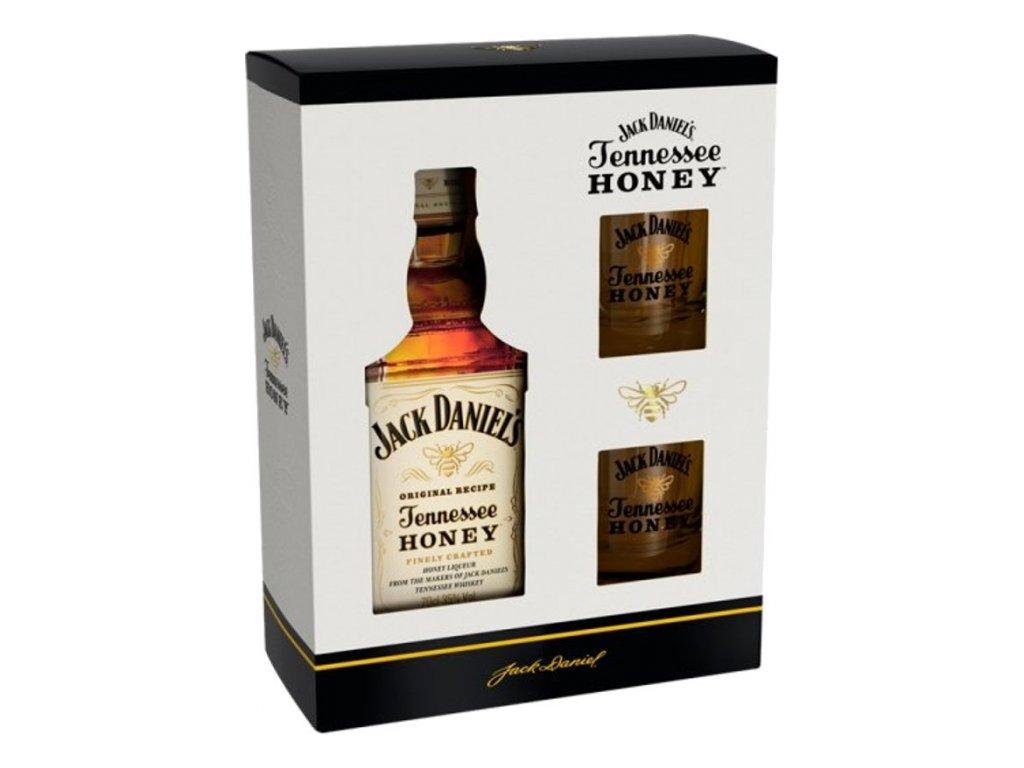Jack Daniels Honey + 2 poháre gift pack 35%, 0,7l