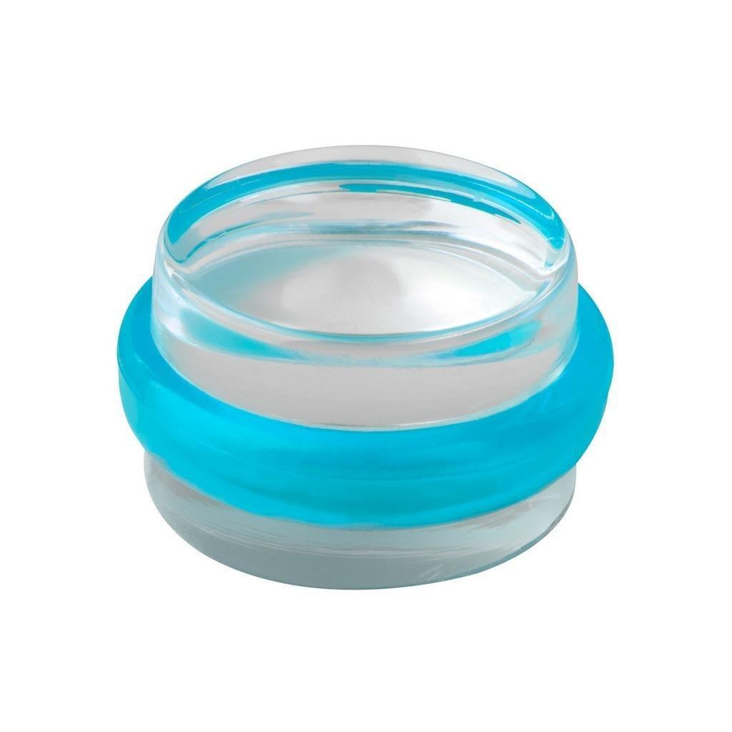Dveřní zarážka, průměr 38x22mm, transparentní, samolepící, modrá