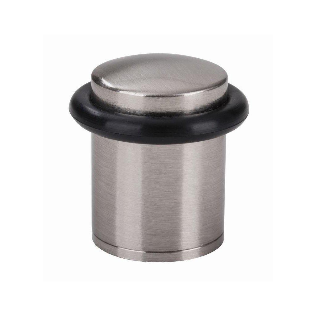Dveřní zarážka, průměr 25x38mm, matný nikl
