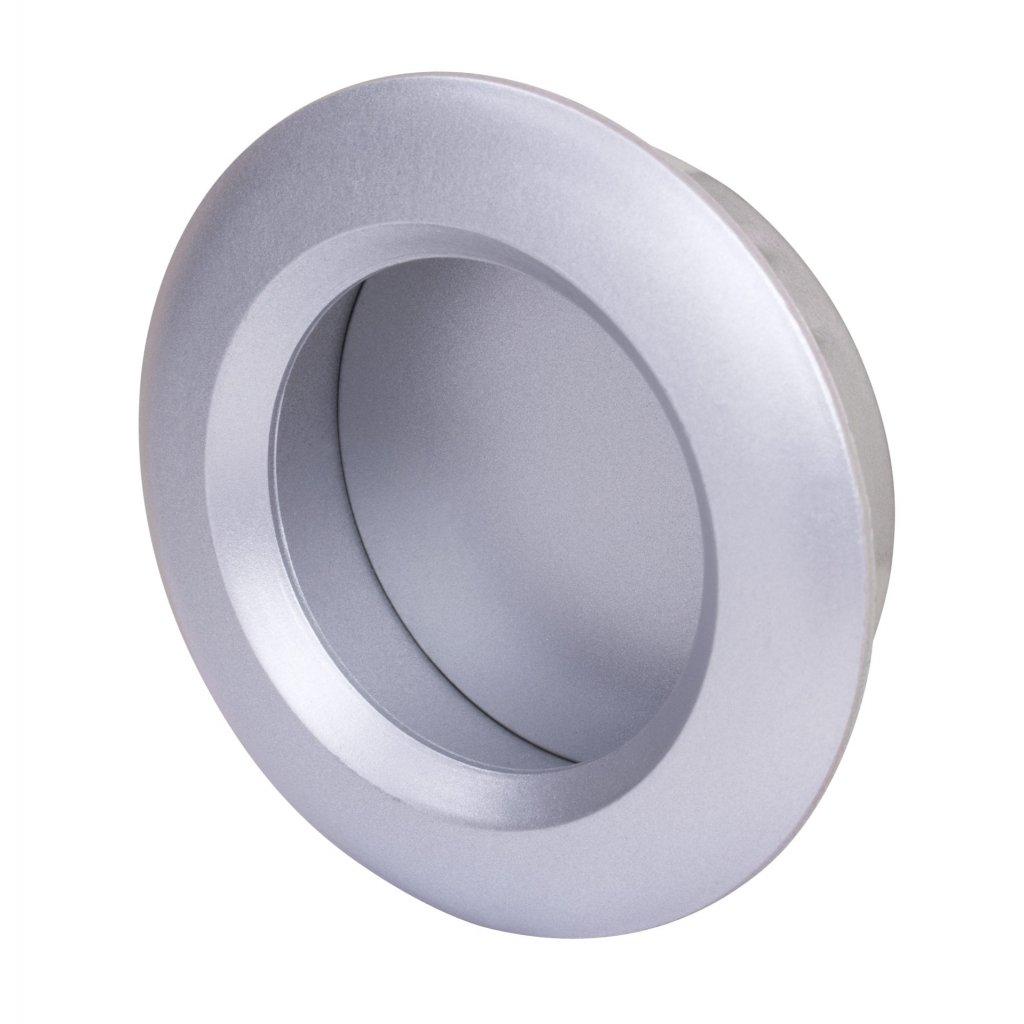 Nábytková úchytka, průměr 40/51mm, plast, stříbrná