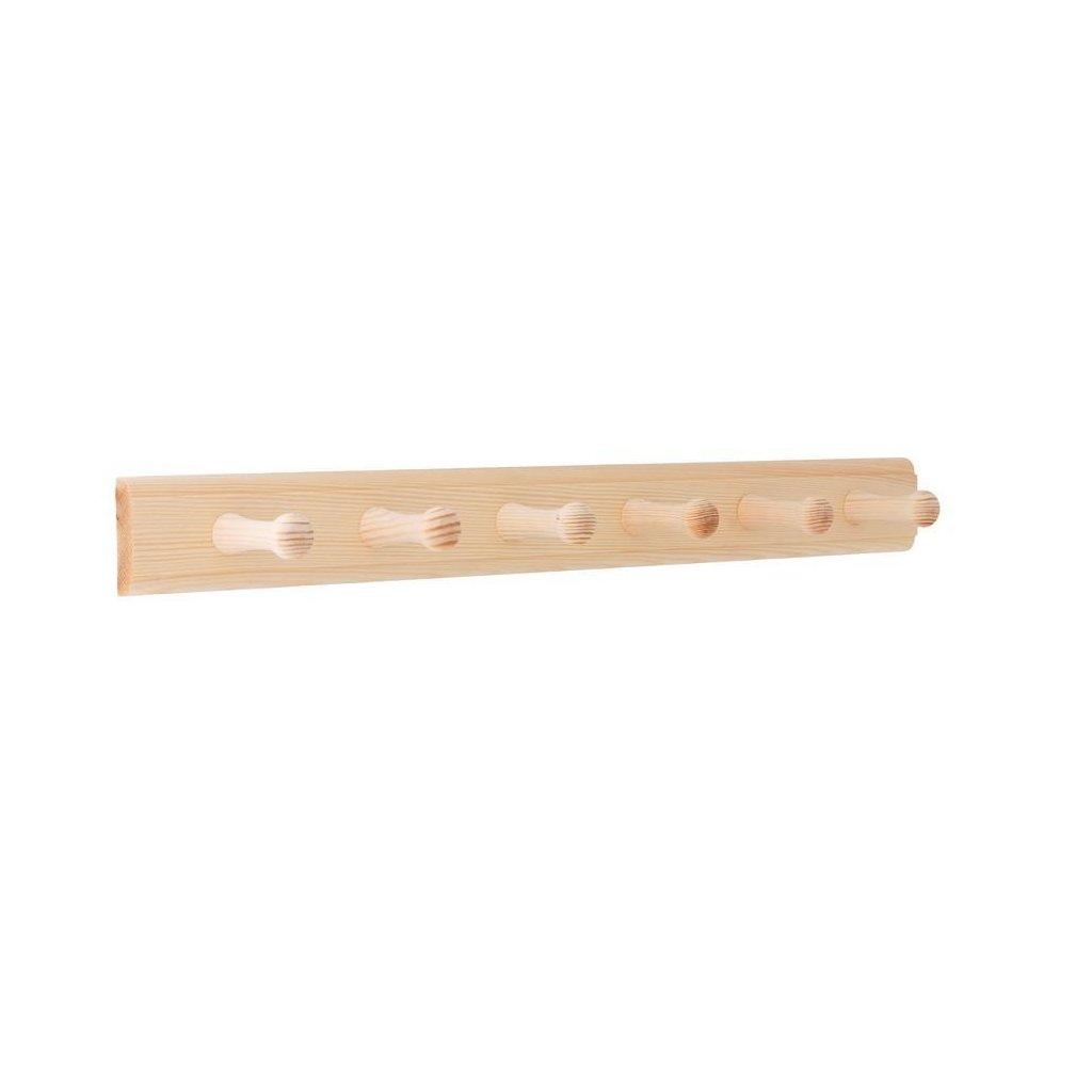 Věšáková lišta 500x50mm, 6 věšáků, borovice