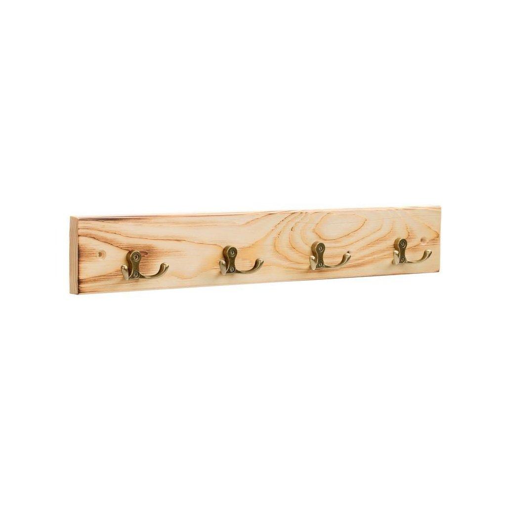 Věšáková lišta 500x80mm, 4 háčky, drásané dřevo, přírodní