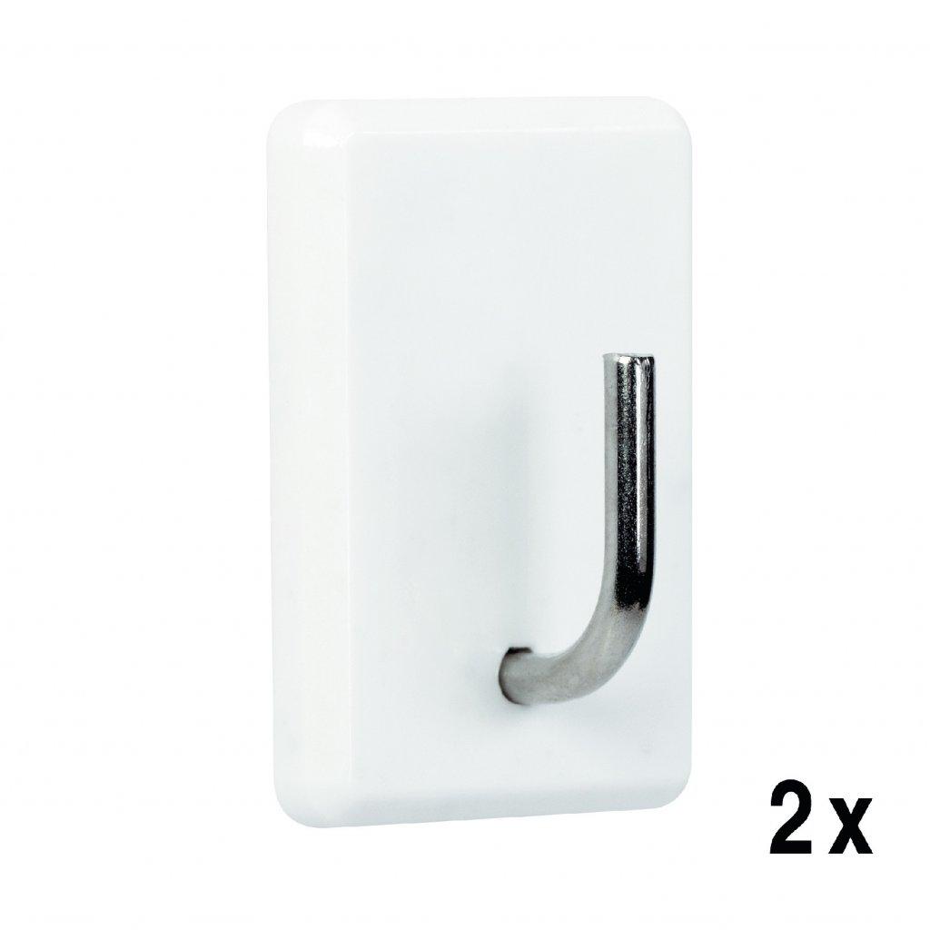 Samolepící háček QF8, plast, bílý, 2 ks