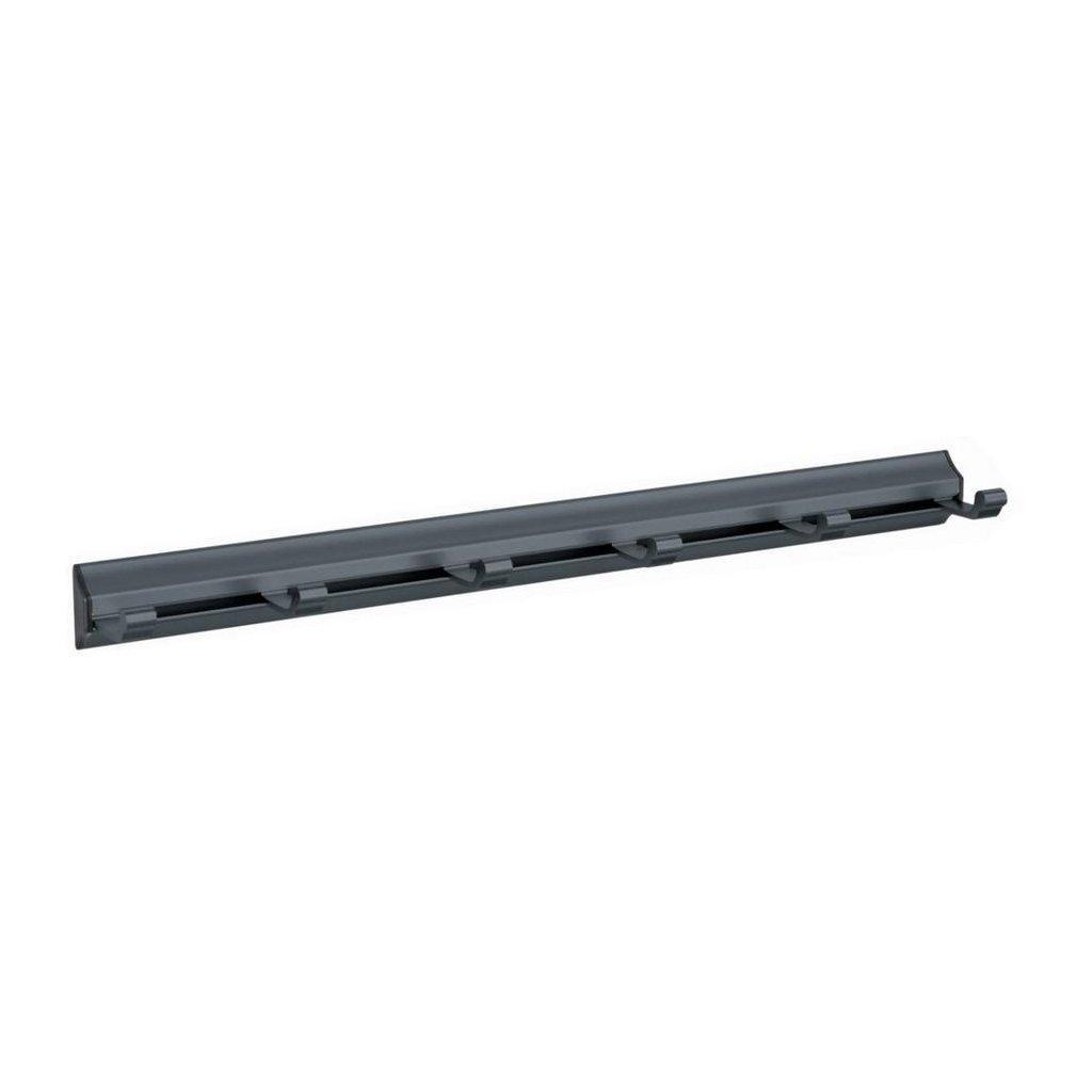 Věšáková lišta 6 háčků, 405mm, aluminium, matná černá