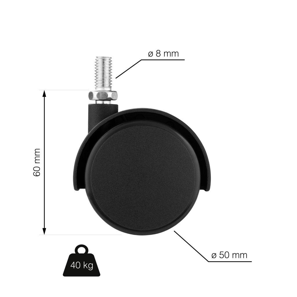 Nábytkové kolečko, průměr 50 mm, výška 45 mm, M8