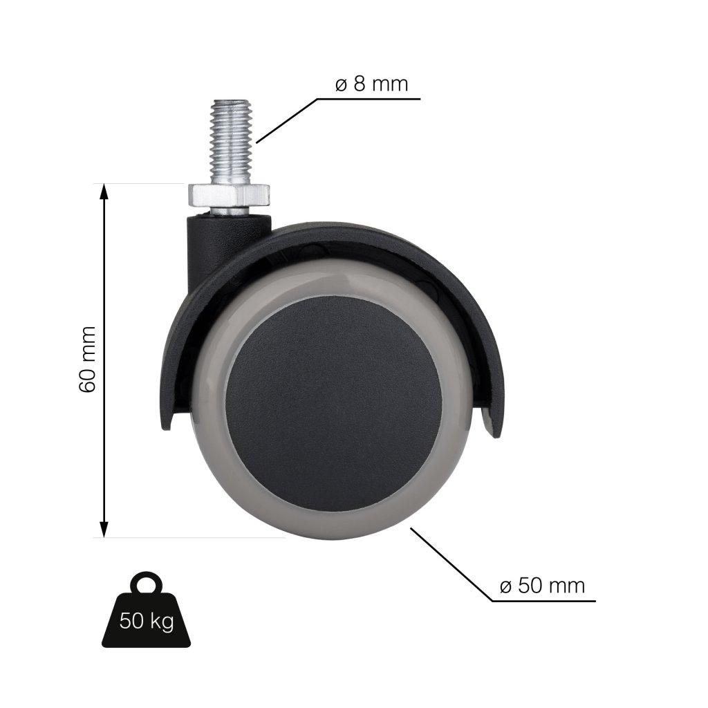 Nábytkové kolečko s čepem M8, průměr  50 mm, nosnost 40 kg