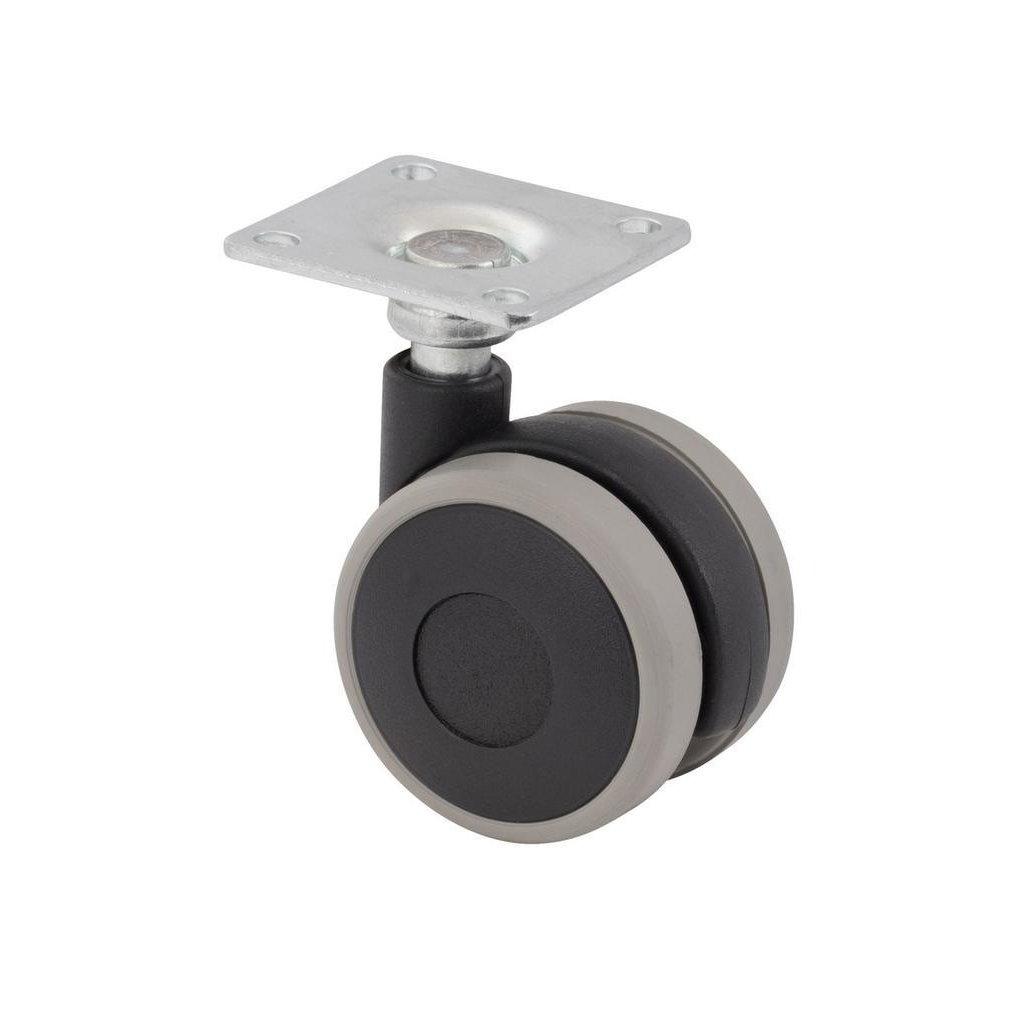 Nábytkové kolečko černo-šedé s plotnou, průměr  40 mm