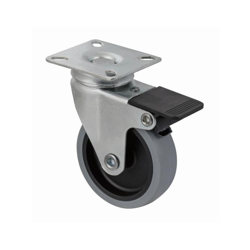 Přístrojové kolečko s plotnou pro tvrdé podlahy, otočné s brzdou, průměr 75 mm