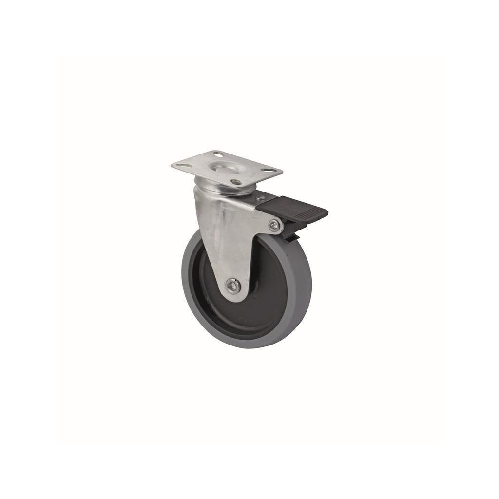 Přístrojové kolečko pro tvrdé podlahy, otočné s brzdou, Ø 100 mm