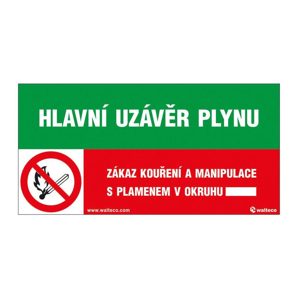 Hlavní uzávěr plynu/Zákaz kouření a manipulace s plamenem!, 150x80mm, samolepka