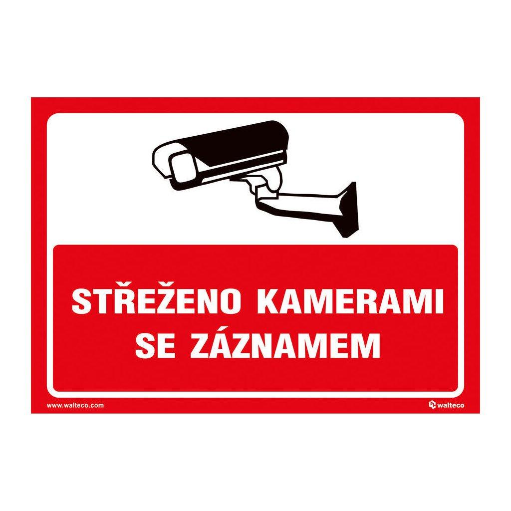 Střeženo kamerami se záznamem (červená), 210x148mm, formát A5, samolepka