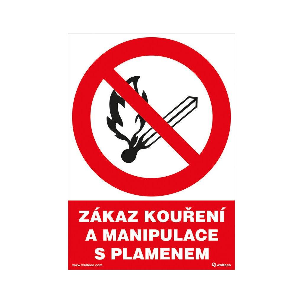 Zákaz kouření a manipulace s plamenem 148x210mm, formát A5, samolepka