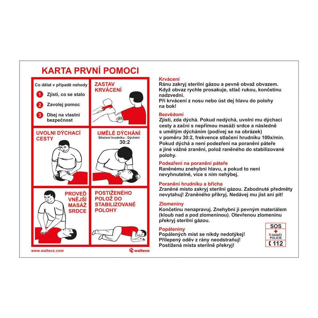 Karta první pomoci CZ, 180x150mm, plastová tabulka